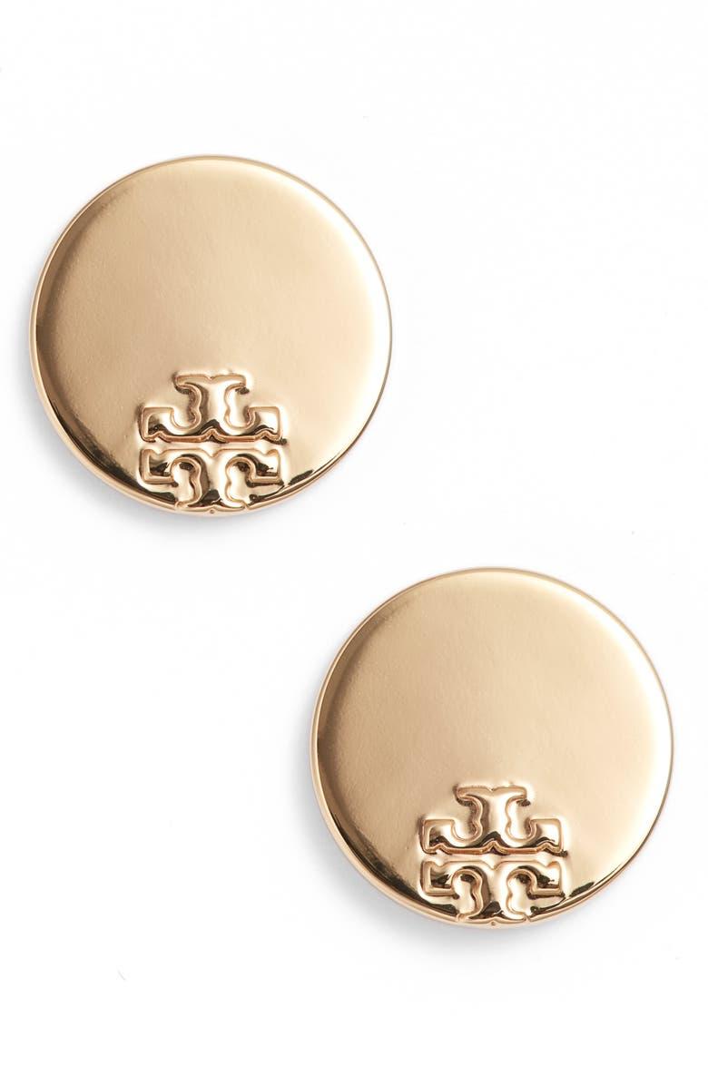 TORY BURCH Serif Stripe Disc Stud Earrings, Main, color, TORY GOLD