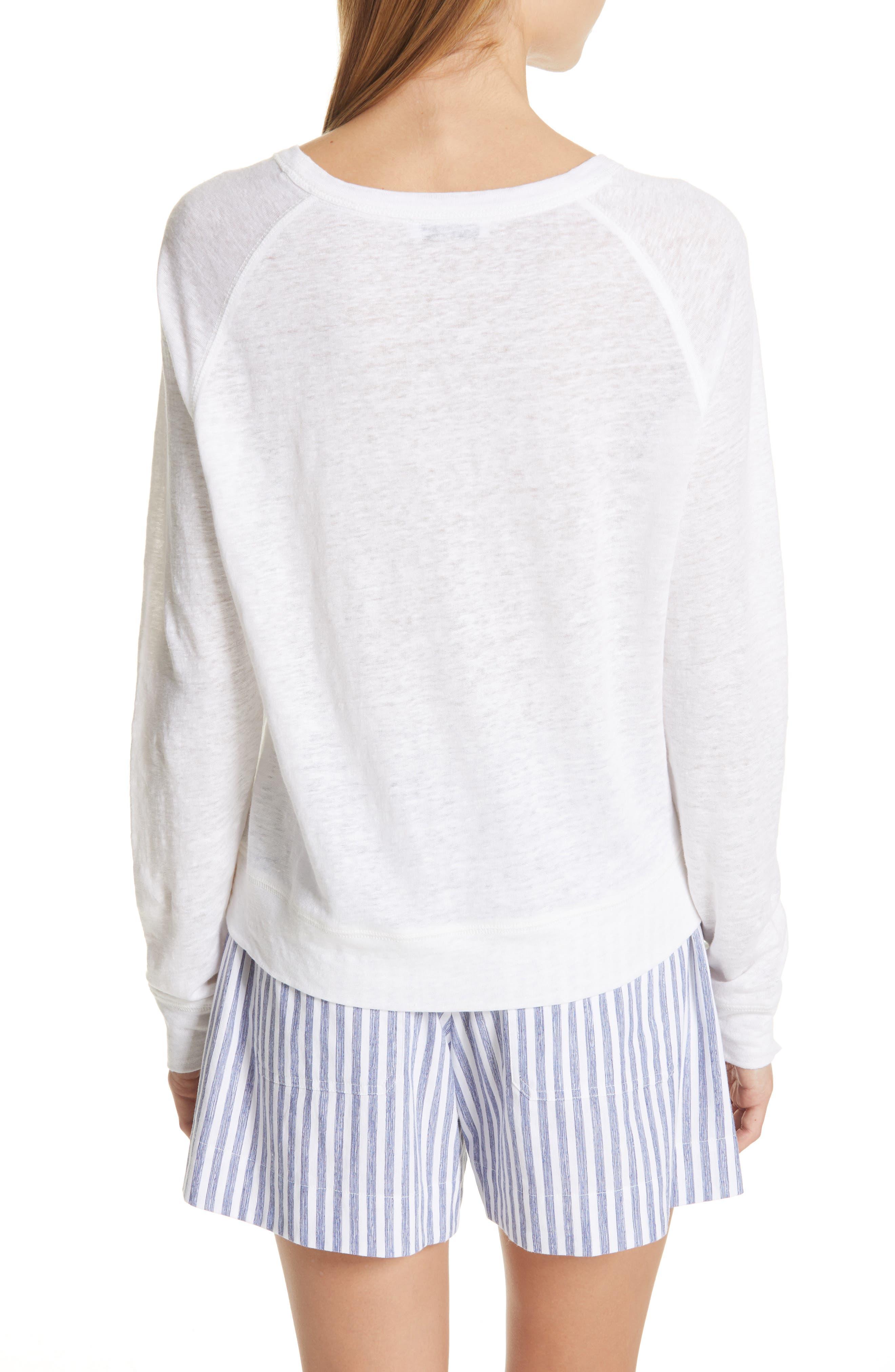 ,                             Long Sleeve Crewneck Linen Top,                             Alternate thumbnail 2, color,                             OPTIC WHITE