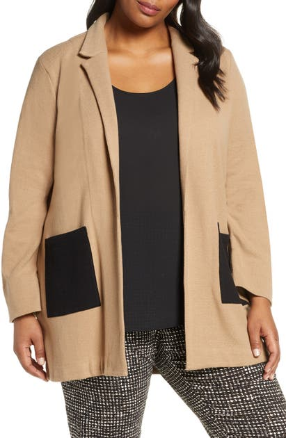 Nic And Zoe Plus Nic+Zoe Plus Patch-Pocket Open Jacket In Copper Mix