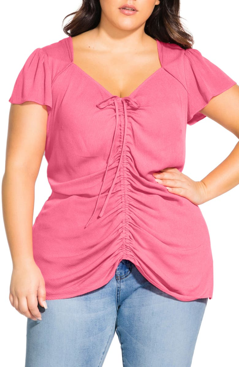 CITY CHIC Ruched Front Top, Main, color, GUAVA