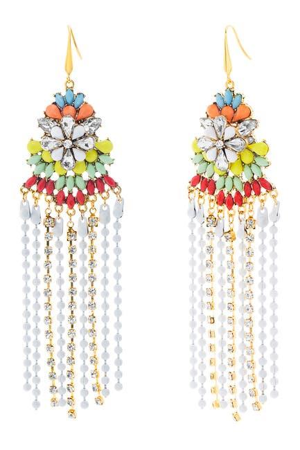 Image of Steve Madden Crystal Glass Flower Fringe Earrings