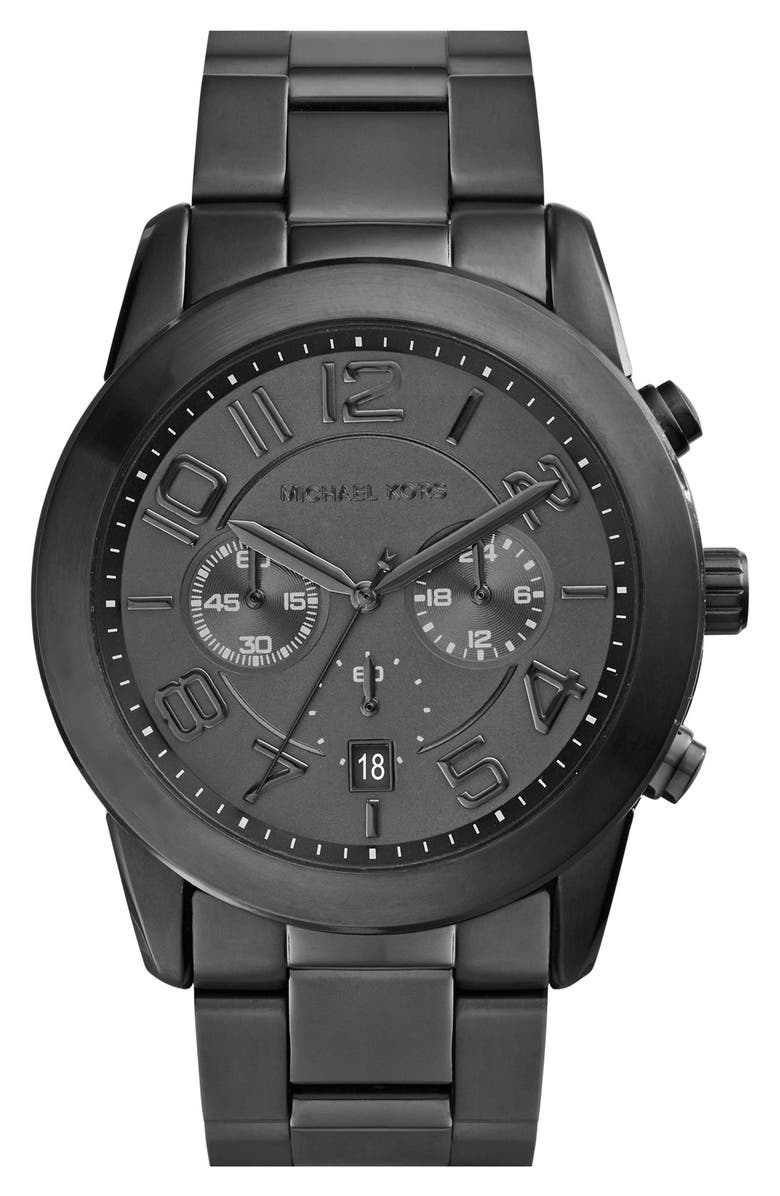 MICHAEL MICHAEL KORS Michael Kors 'Mercer' Chronograph Bracelet Watch, 45mm, Main, color, 001