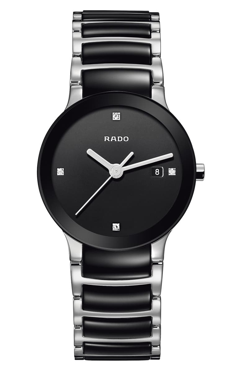 RADO Centrix Diamond Bracelet Watch, 28mm, Main, color, SILVER/ BLACK