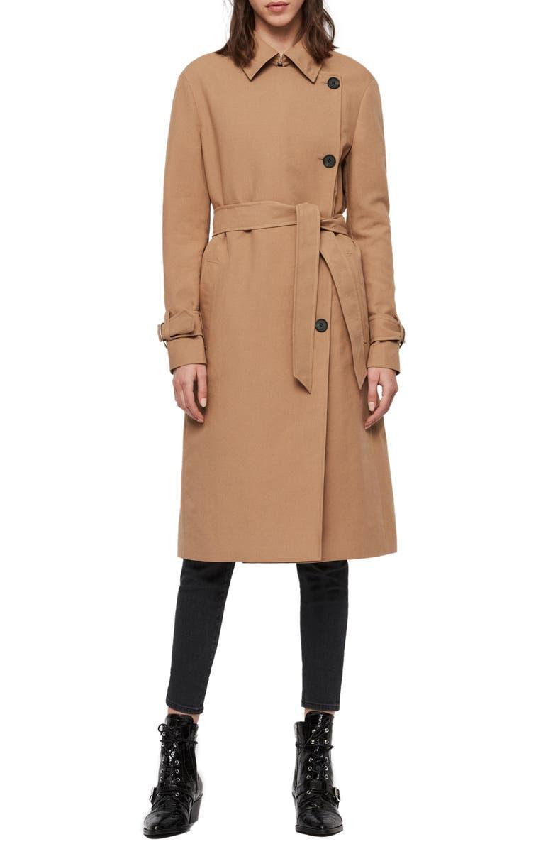 ALLSAINTS Avita Trench Coat, Main, color, TAWNY BROWN