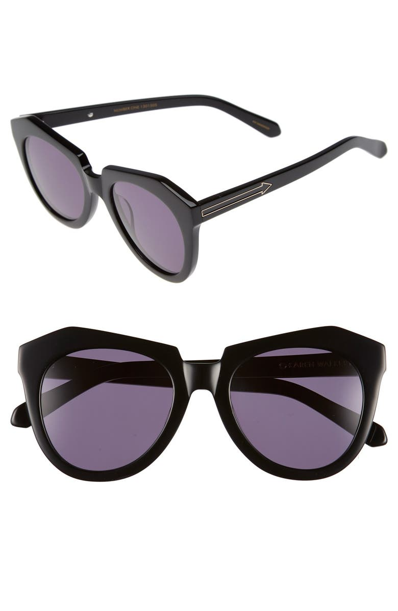 KAREN WALKER 'Number One' 50mm Sunglasses, Main, color, 001
