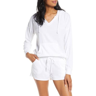 Pj Salvage Hoodie & Shorts Pajamas, White