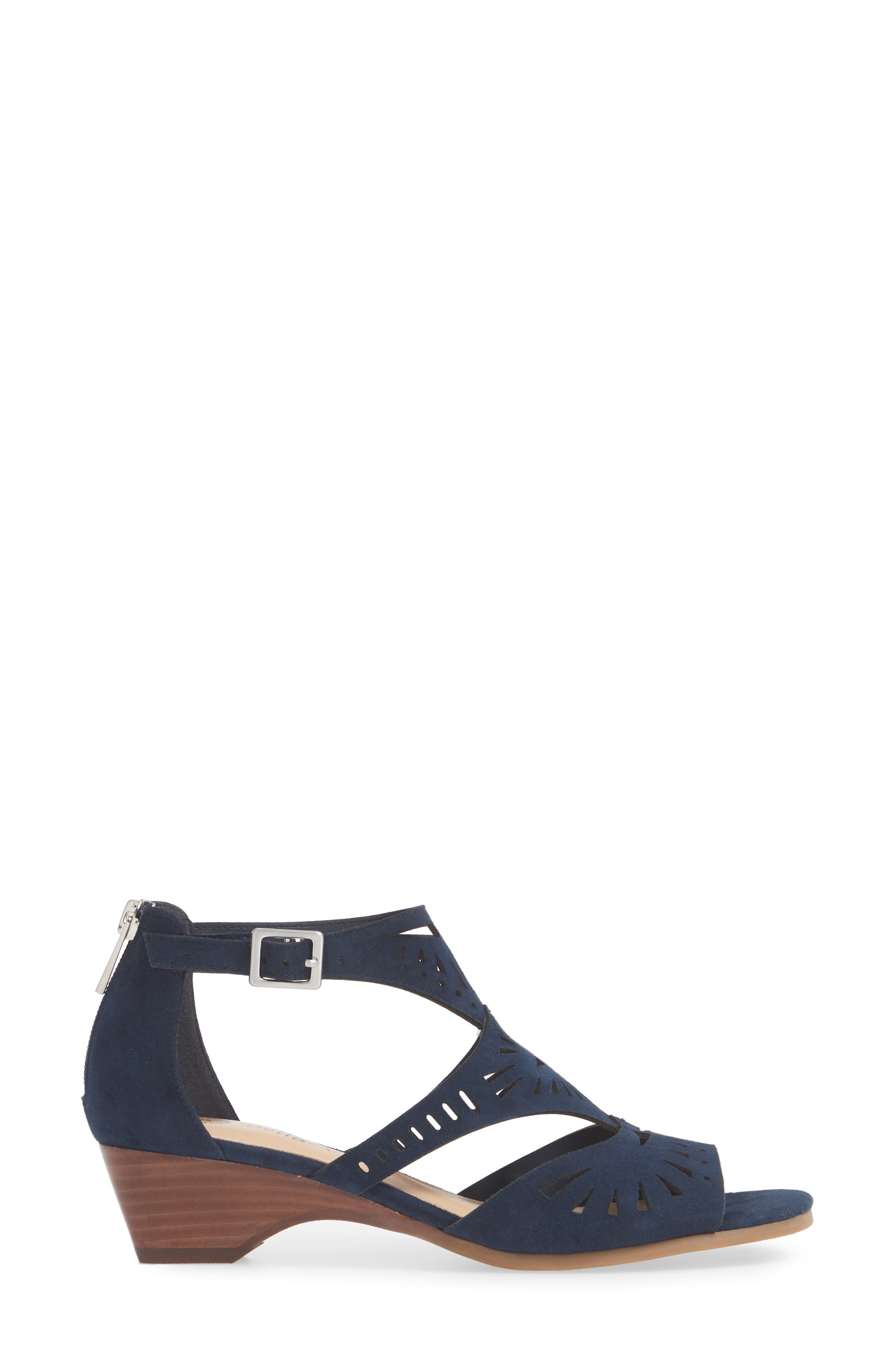 ,                             Penny Sandal,                             Alternate thumbnail 3, color,                             NAVY KID SUEDE LEATHER