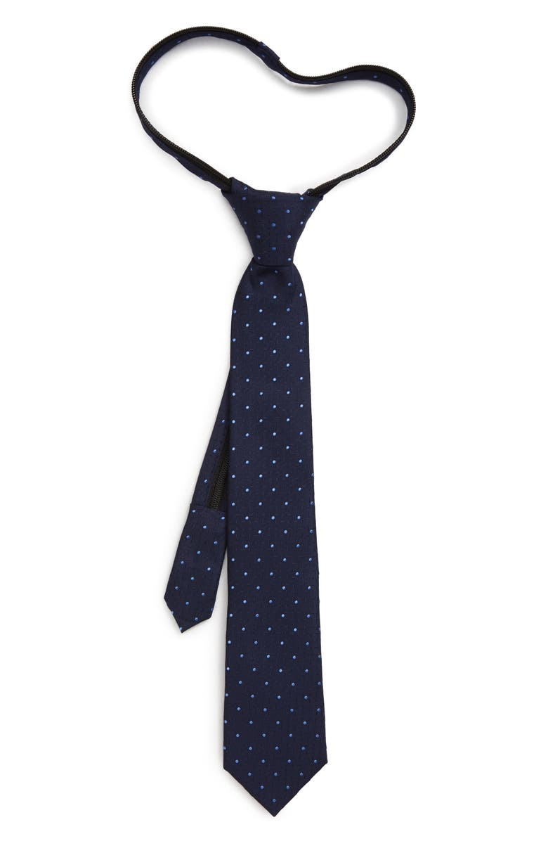 NORDSTROM Roberto Dot Silk Zipper Tie, Main, color, BLUE