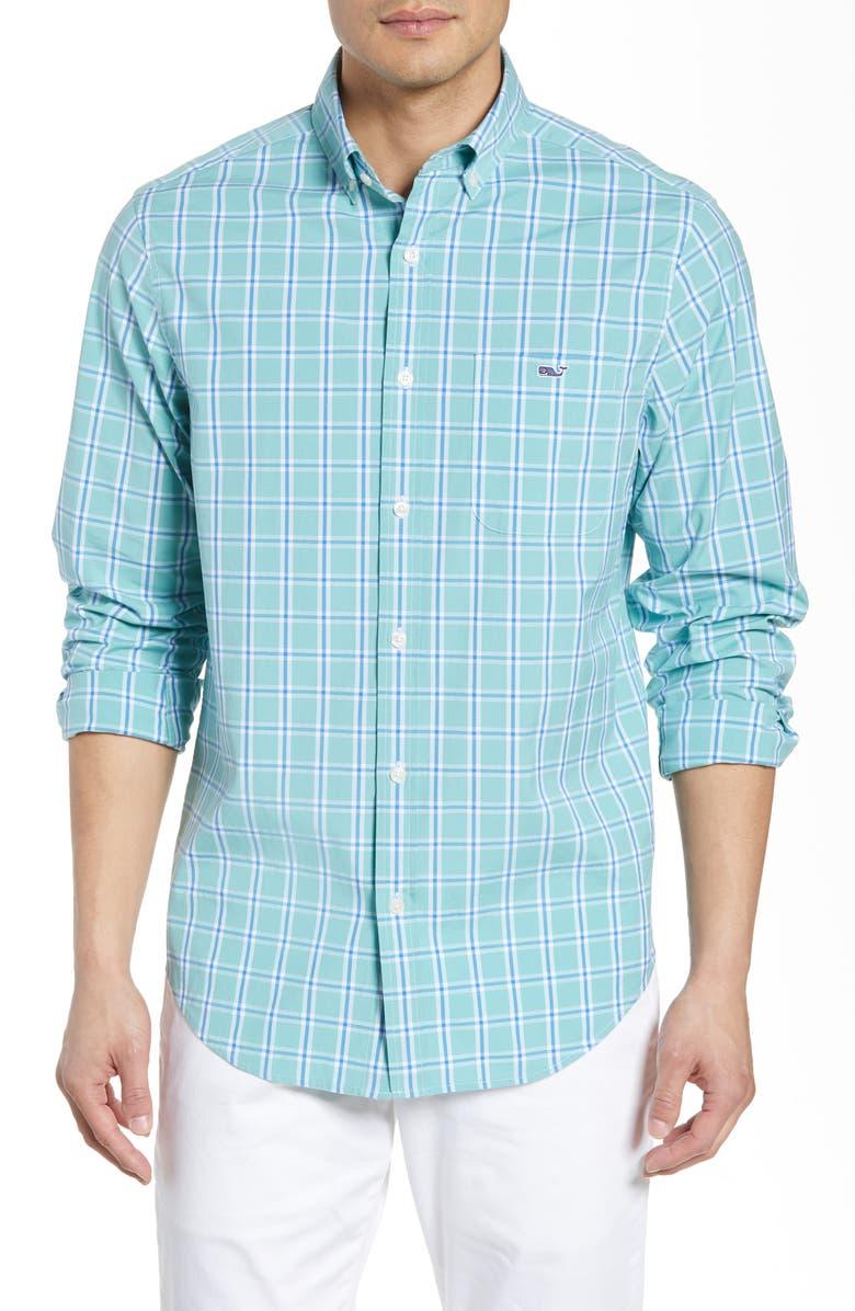 VINEYARD VINES Tucker Classic Fit Windowpane Stretch Shirt, Main, color, GREENWICH GREEN