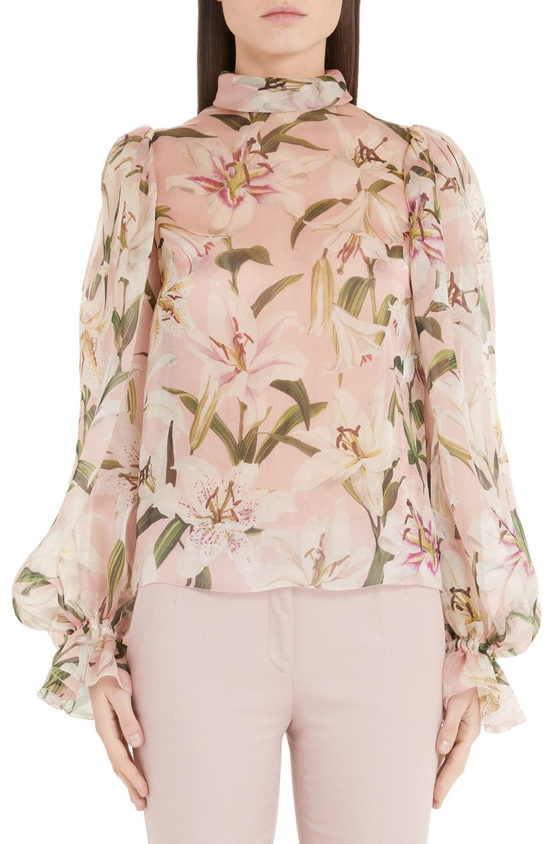 DOLCE&GABBANA Lily Print Organza Puff Sleeve Blouse, Main, color, PINK LILY