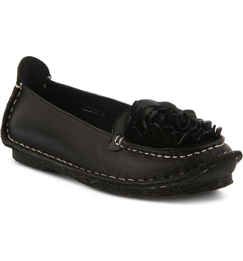 L'ARTISTE Dezi Flat, Main, color, BLACK LEATHER