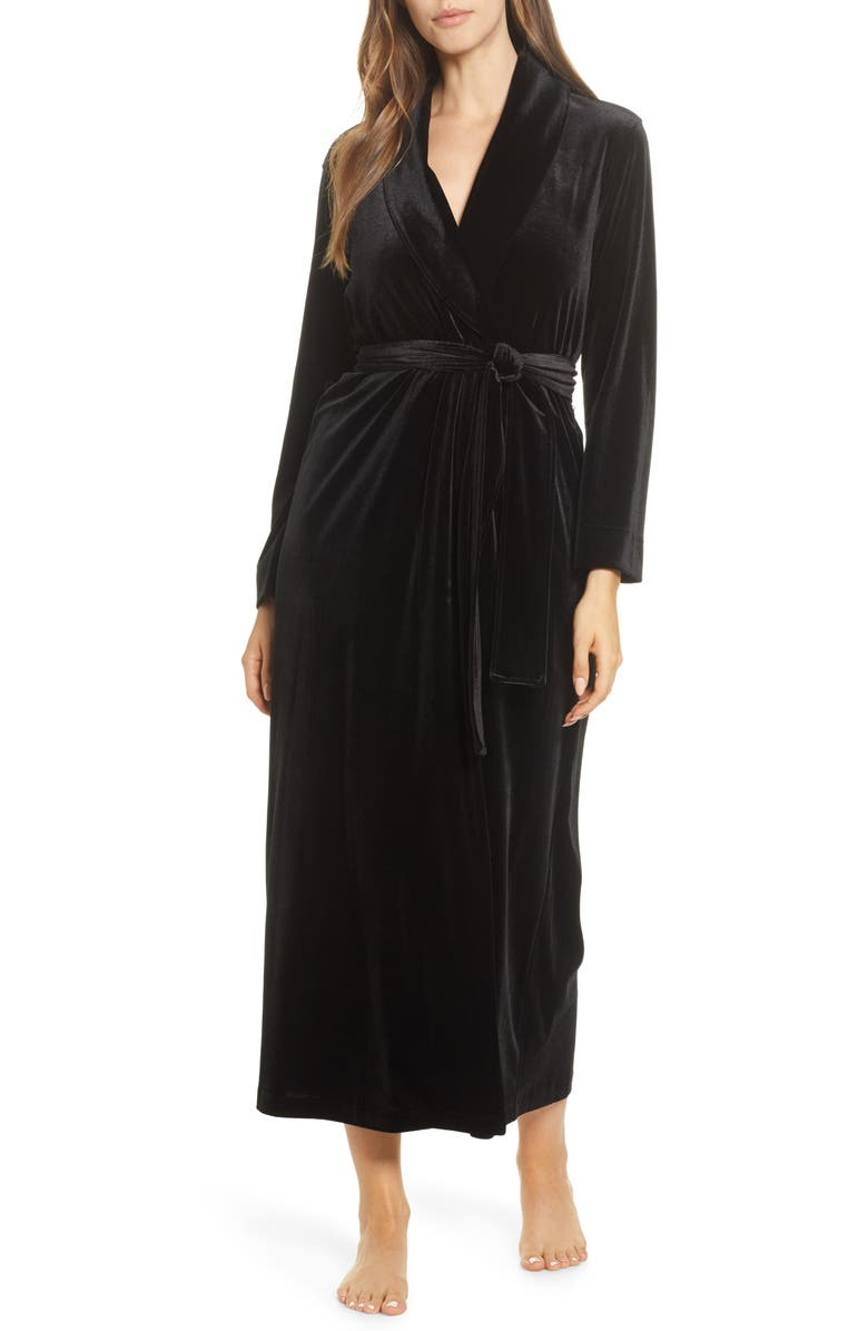 NATORI Natalie Velvet Robe, Main, color, BLACK