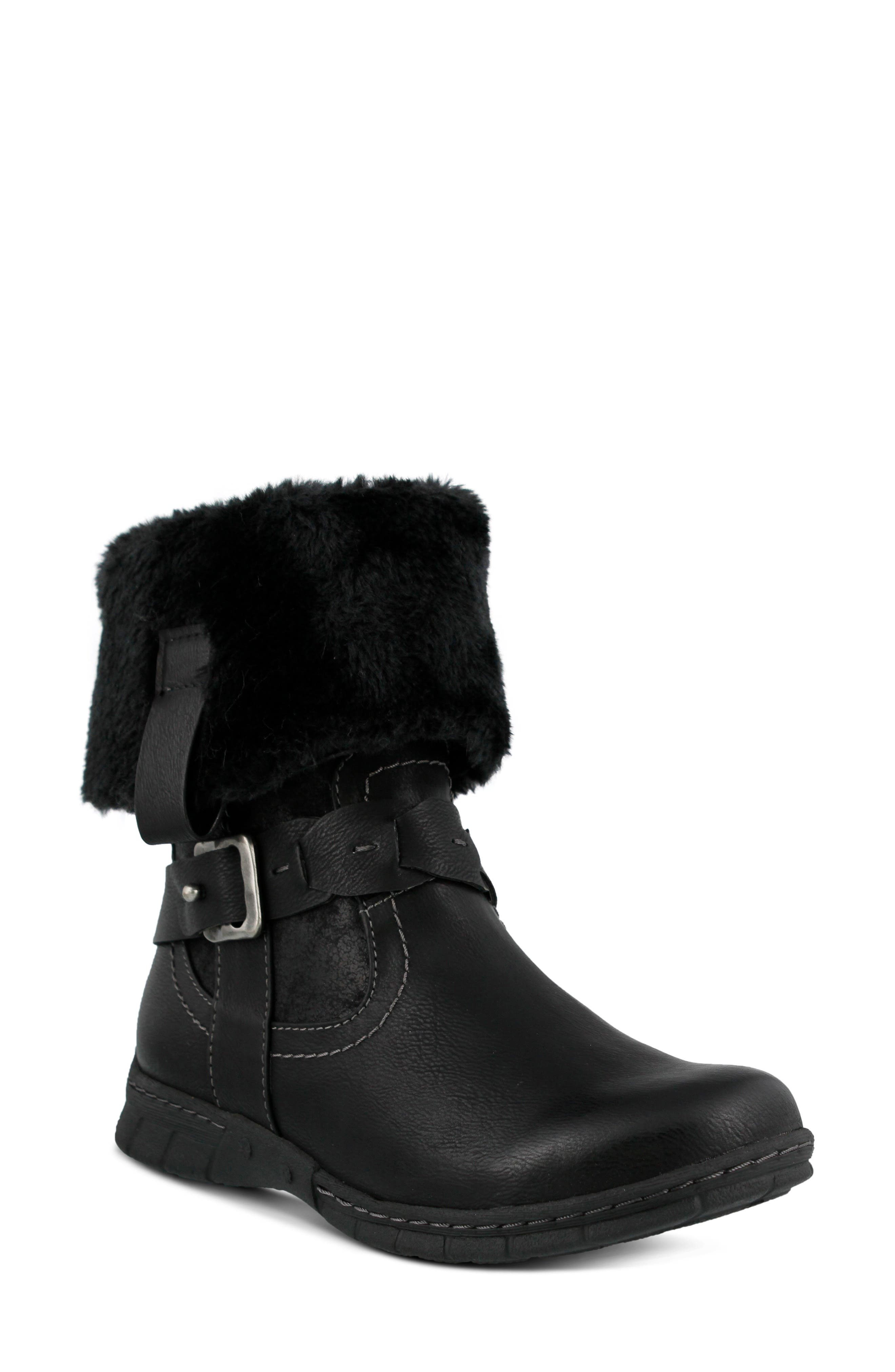 Spring Step Peeta Water Resistant Faux Fur Boot - Black
