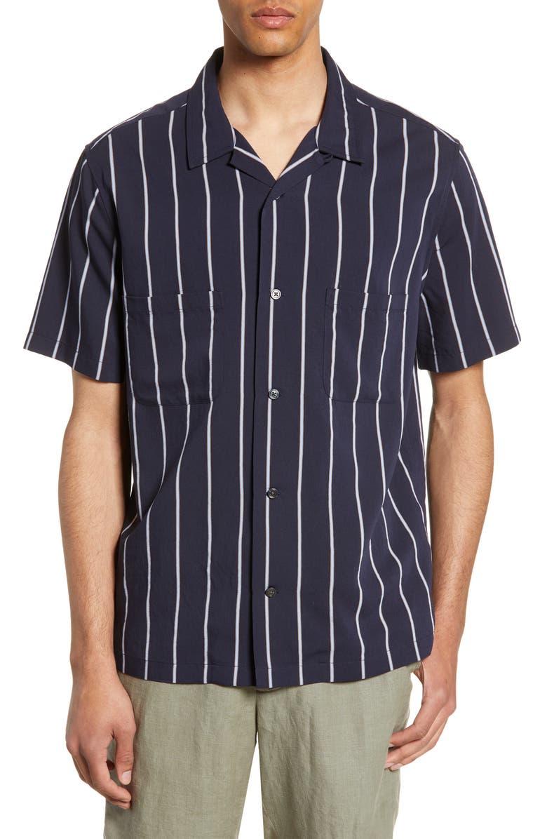 VINCE Cabana Slim Fit Short Sleeve Shirt, Main, color, COASTAL