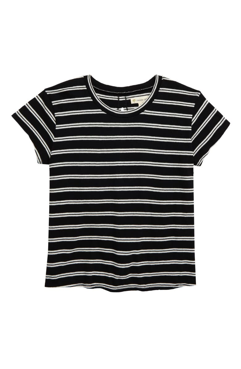TUCKER + TATE Twisty Tee, Main, color, BLACK- IVORY DOUBLE STRIPE
