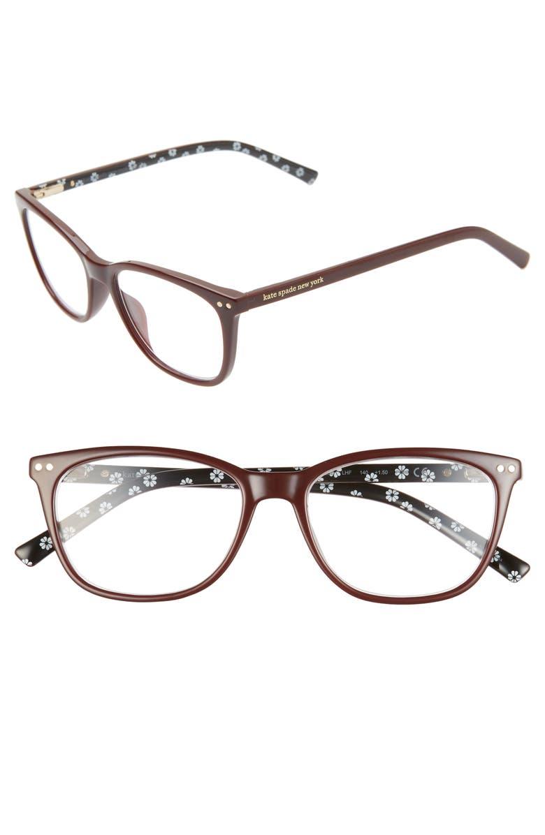 KATE SPADE NEW YORK tinlee 52mm reading glasses, Main, color, BURGUNDY