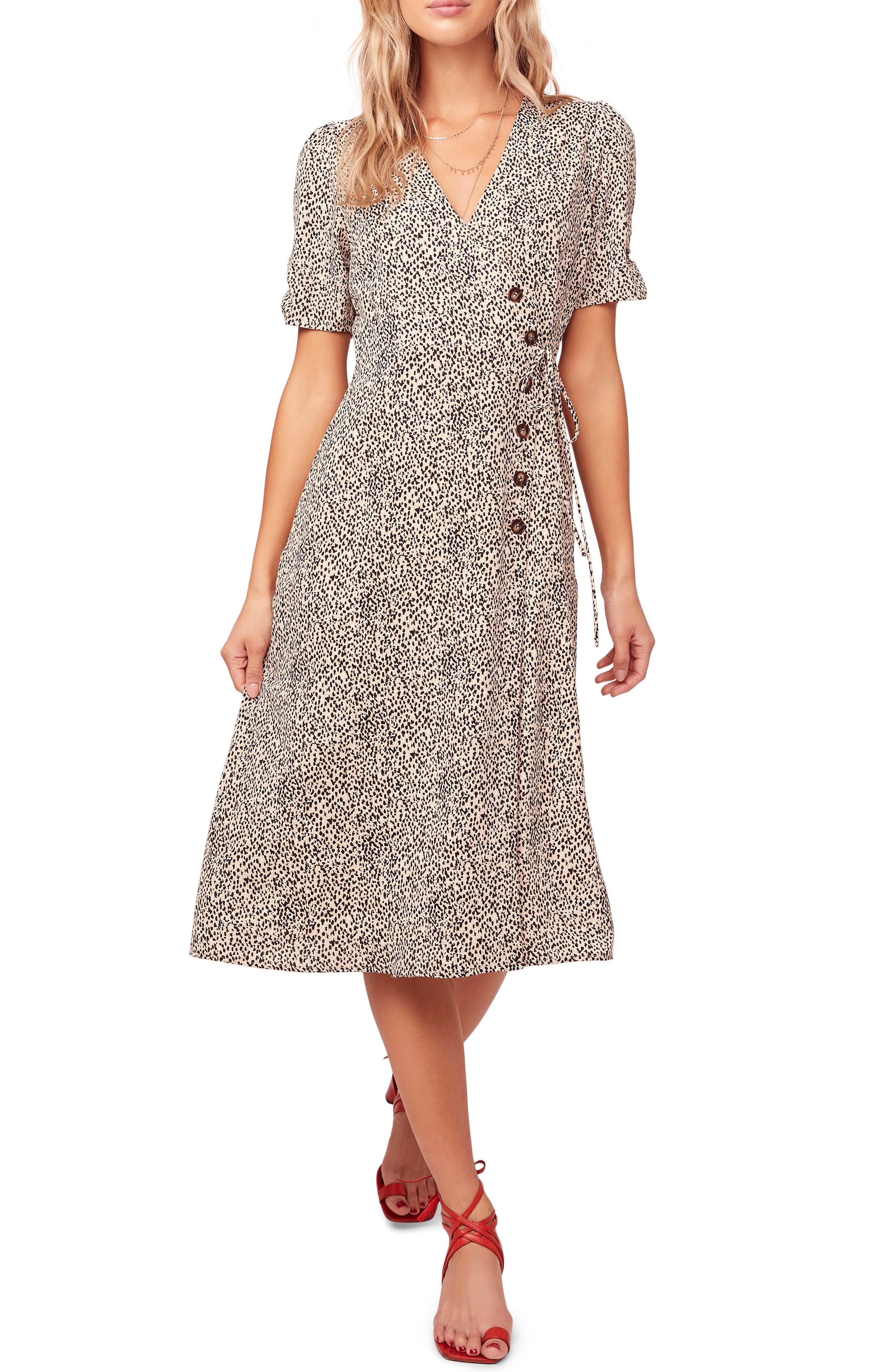 Astr The Label Kinsley Micro Print Wrap Dress, Beige