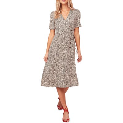 Astr The Label Kinsley Micro Print Wrap Dress, Beige