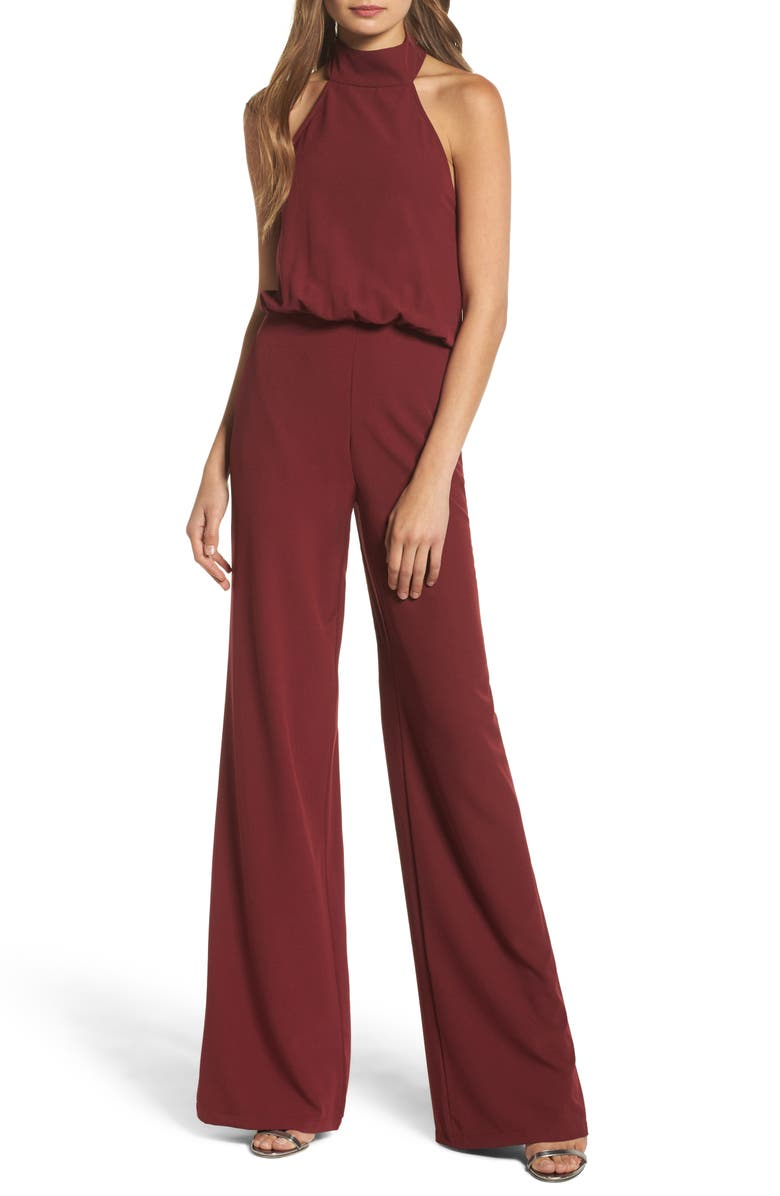 LULUS Moment for Life Halter Jumpsuit, Main, color, WINE