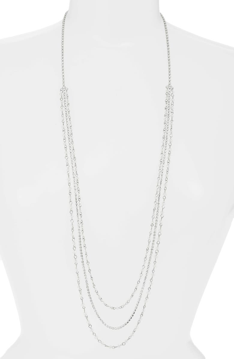 CRISTABELLE Crystal Multistrand Mix Media Necklace, Main, color, CRYSTAL/ RHODIUM