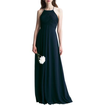 #levkoff Halter Chiffon A-Line Gown, Blue