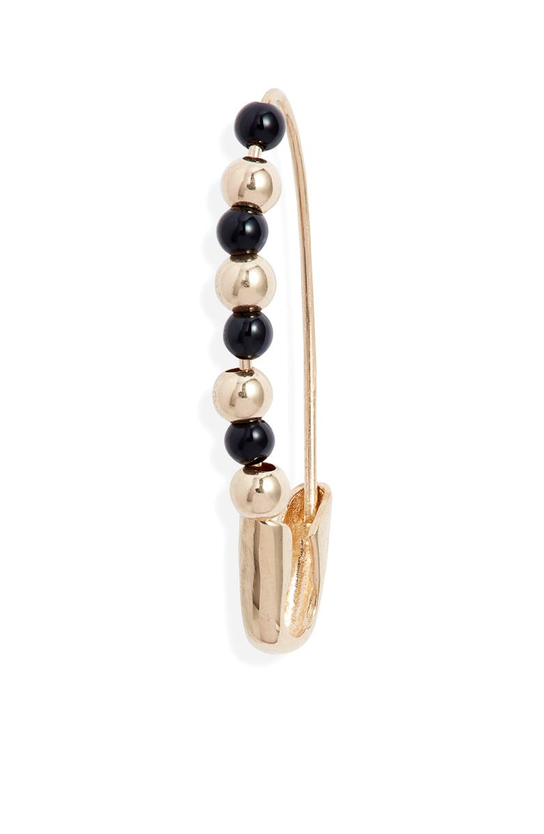 LOREN STEWART Friendship Onyx & 14K Gold Safety Pin Earring, Main, color, YELLOW GOLD/ BLACK ONYX