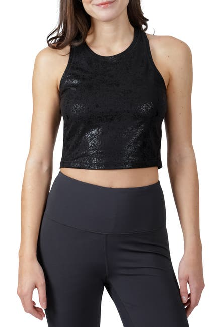 Image of 90 Degree By Reflex Lux Disco Foil Crop Top