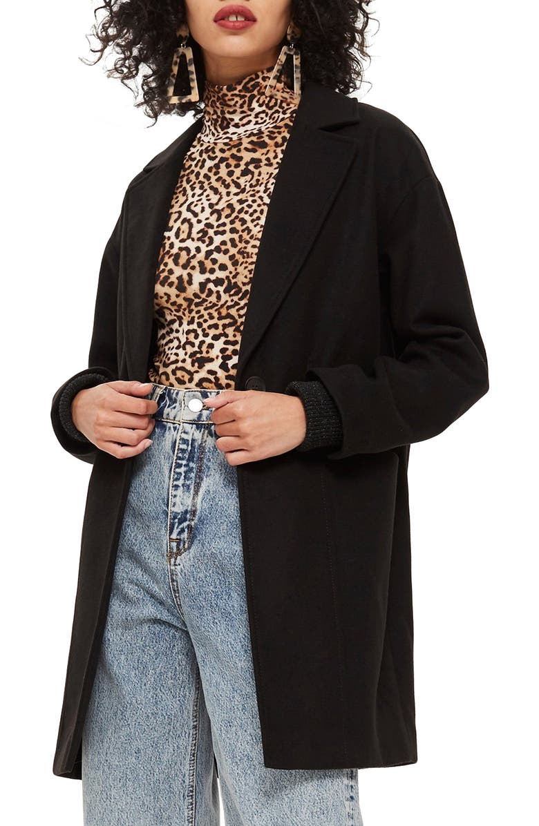 TOPSHOP Marla Slouch Coat, Main, color, 001