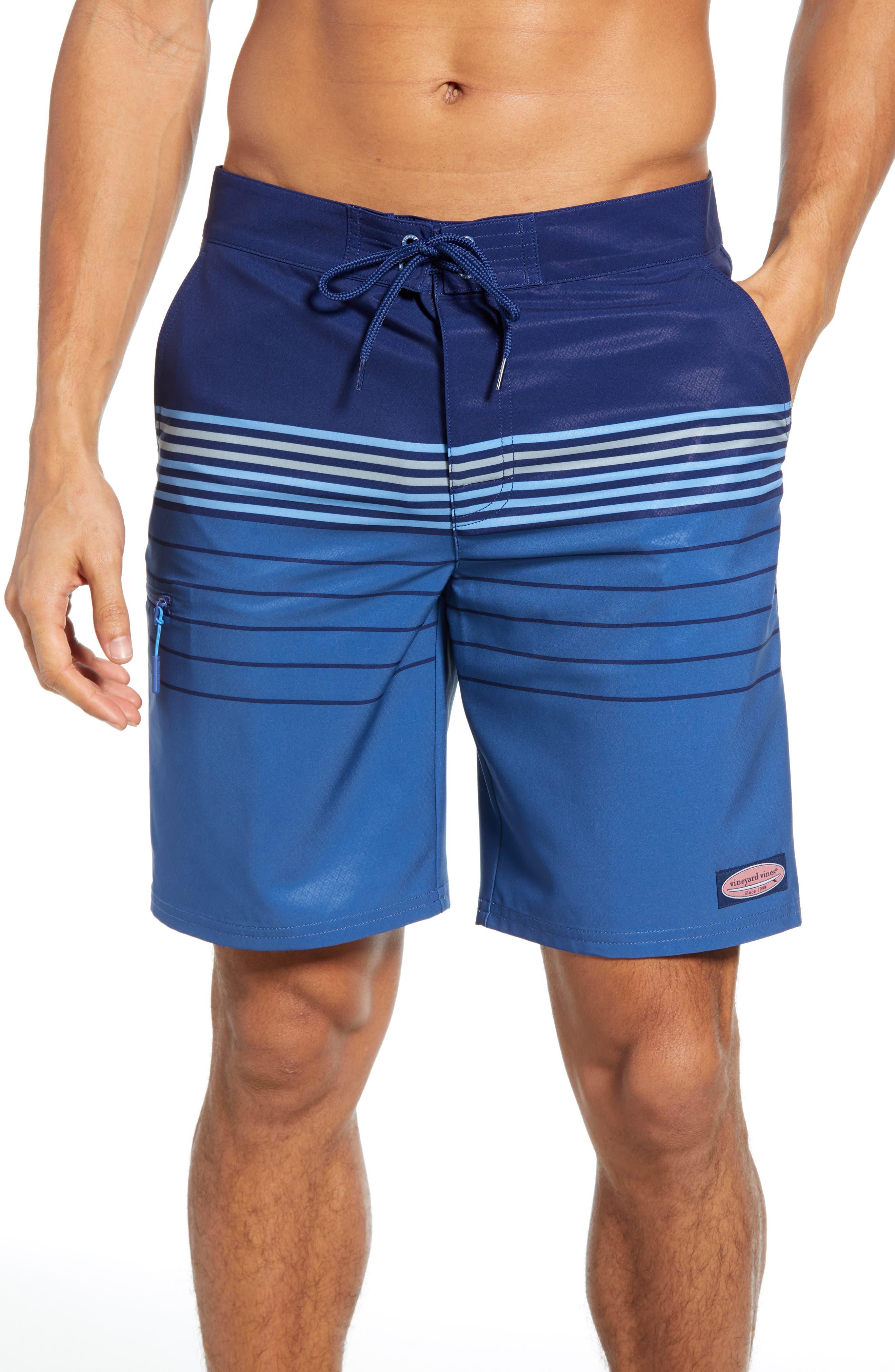 Vineyard Vines Stripe Stretch Board Shorts, Blue