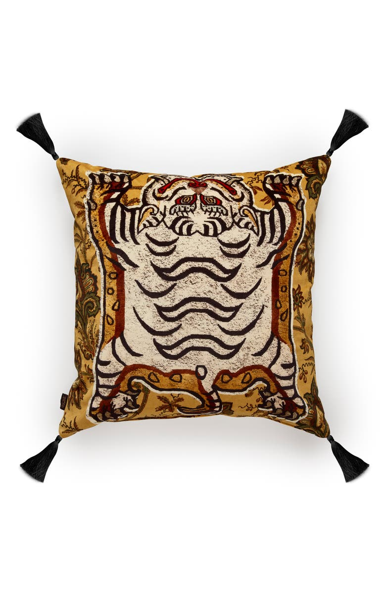 HOUSE OF HACKNEY Tigres Velveteen Accent Pillow, Main, color, OCHRE