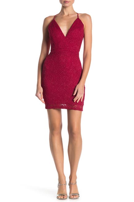 Image of Love, Nickie Lew Metallic Lace Bodycon Dress