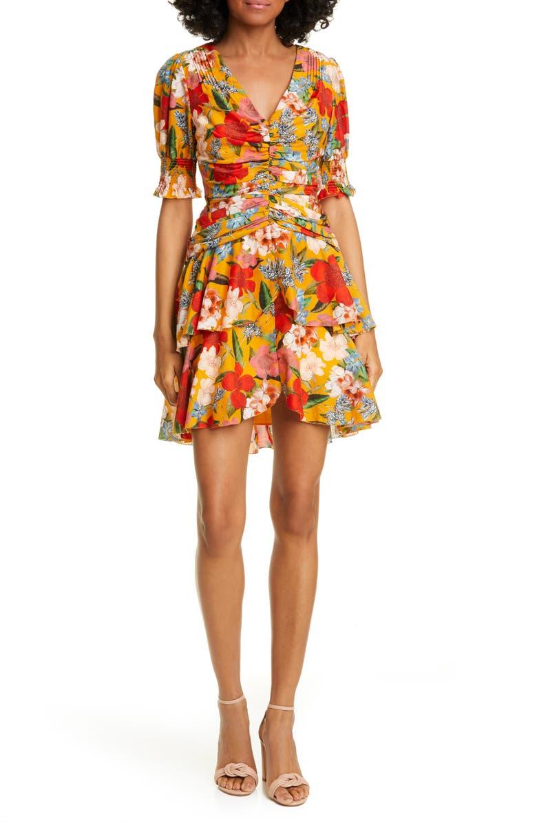NICHOLAS Floral Print Pintuck Minidress, Main, color, TANGERINE MULTI