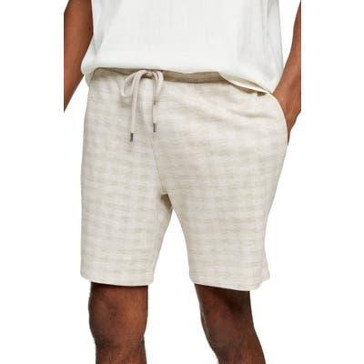 Topman Neutral Check Shorts, Beige