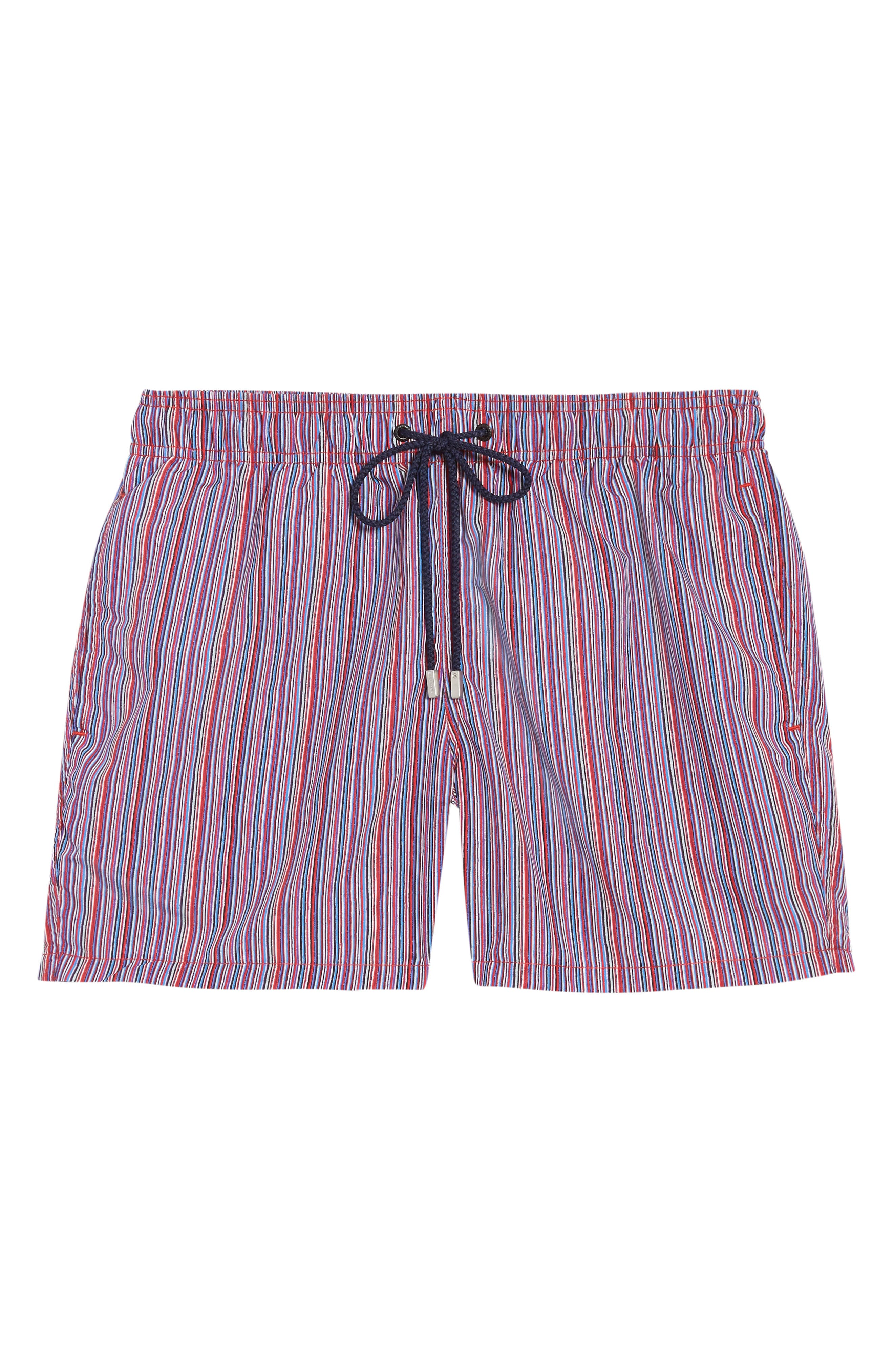 Slim stripes bring a bold splash of color to quick-drying swim trunks with an adjustable drawstring at the waist. Back drainage grommets help prevent ballooning when you jump in the water. Style Name: Bugatchi Stripe Swim Trunks. Style Number: 6039775. Available in stores.