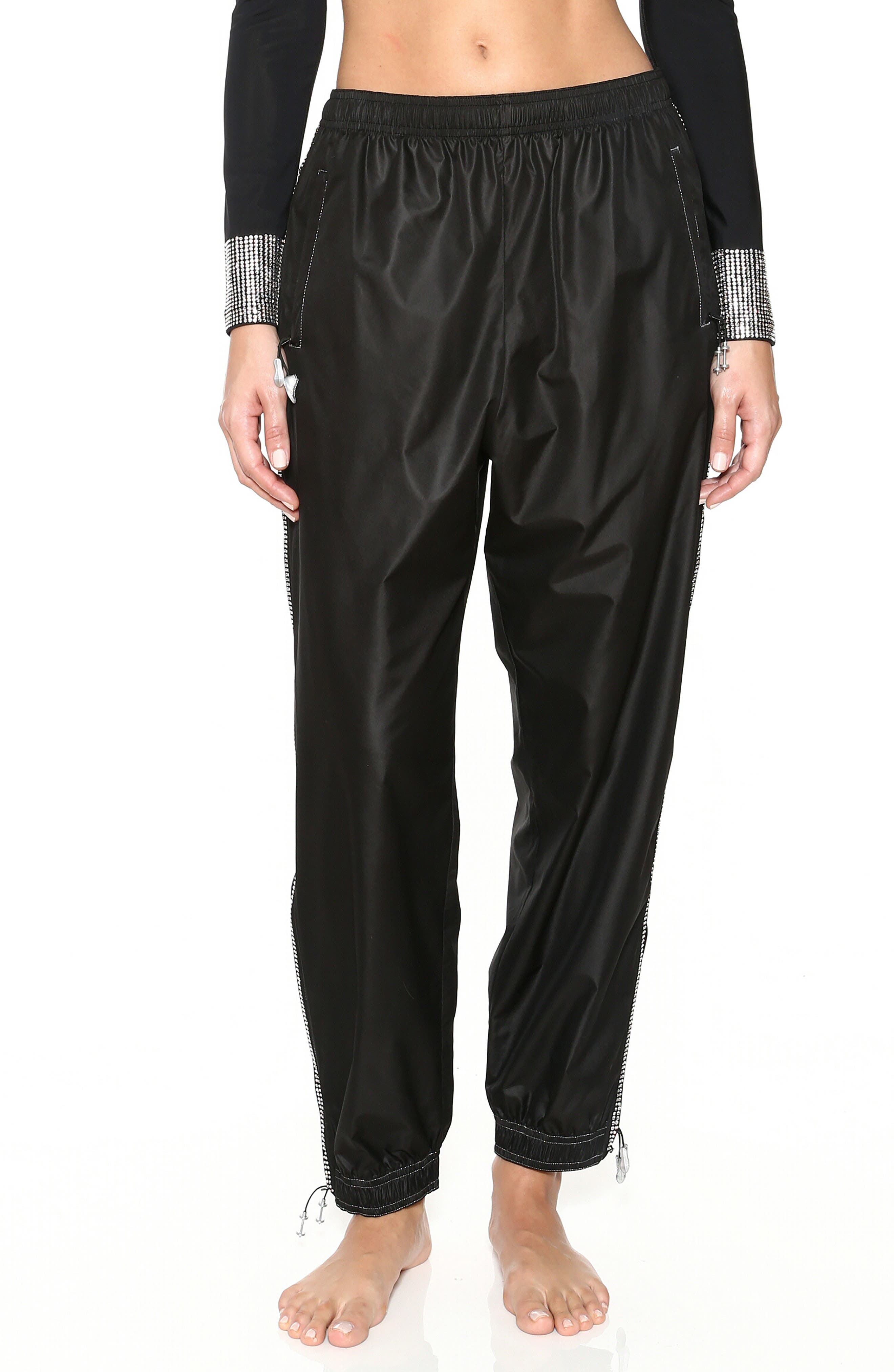 Adam Selman Sport Embellished Track Pants, Black