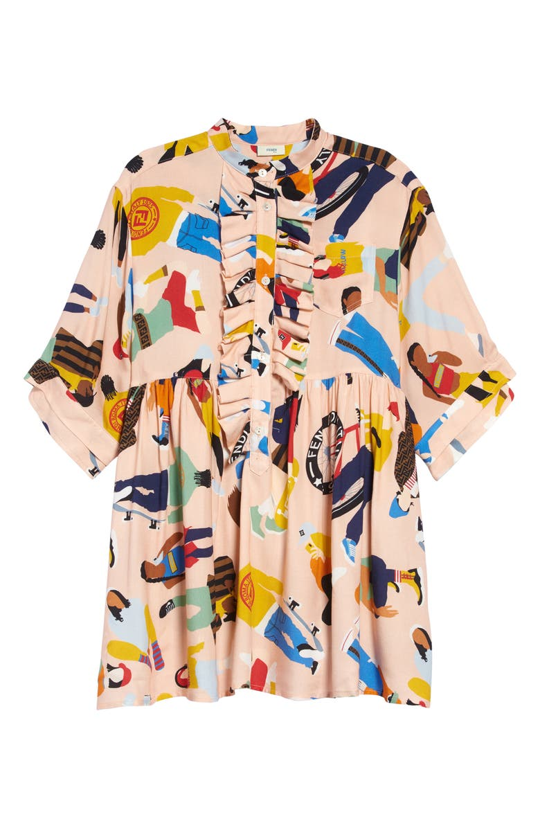 FENDI Print Dress, Main, color, F0B8Y PINK