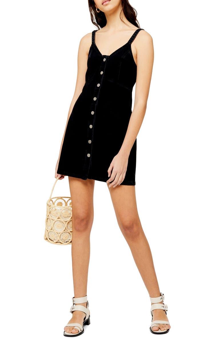 TOPSHOP Button Front Denim Body-Con Dress, Main, color, 003