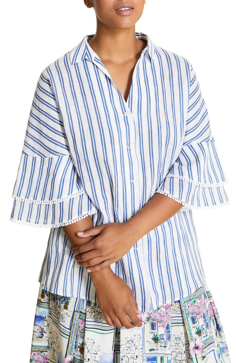 MARINA RINALDI Basilica Stripe Shirt, Main, color, BLUETTE