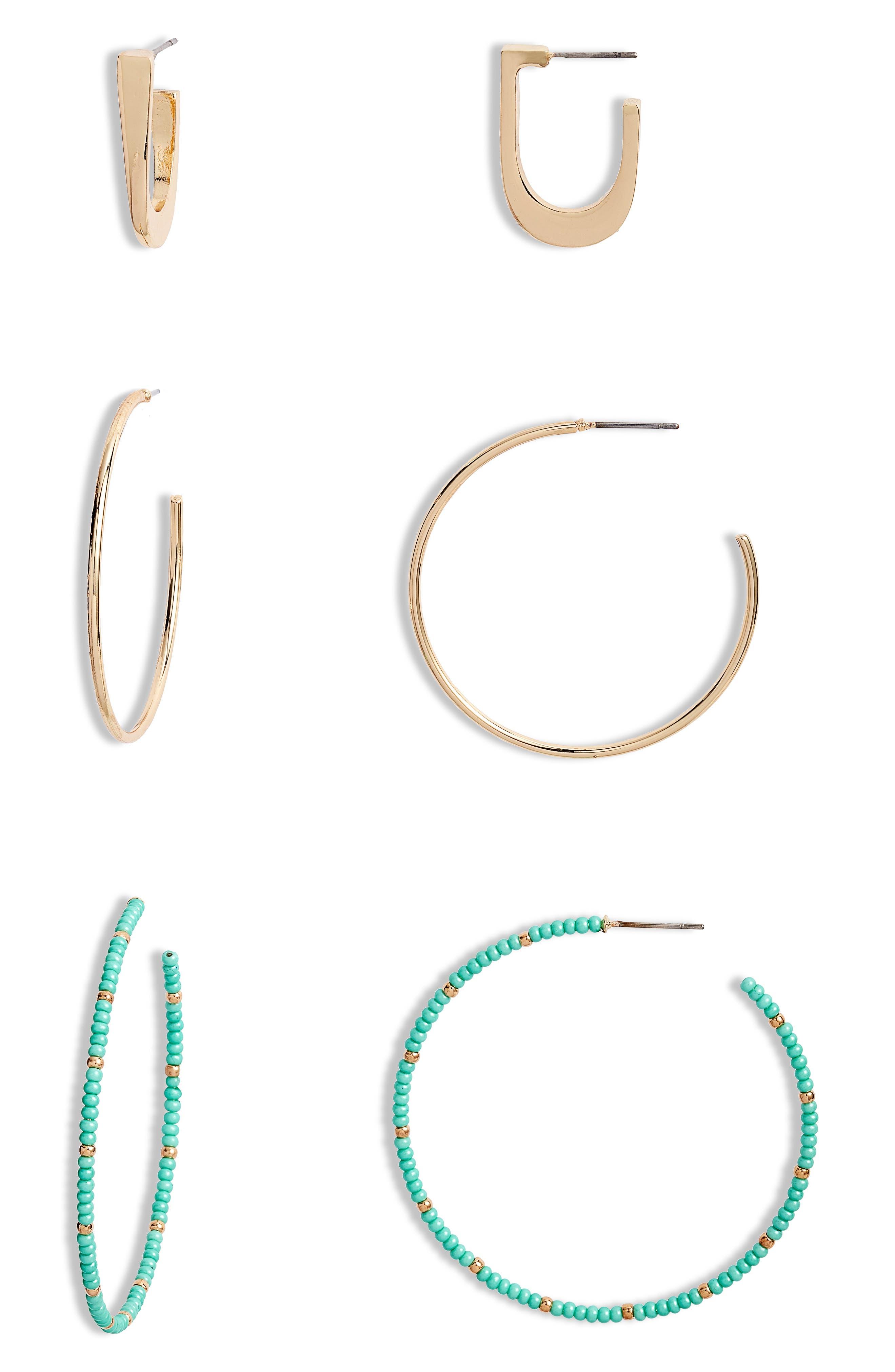 Bp. Earrings BEADED MIXED HOOP EARRINGS SET
