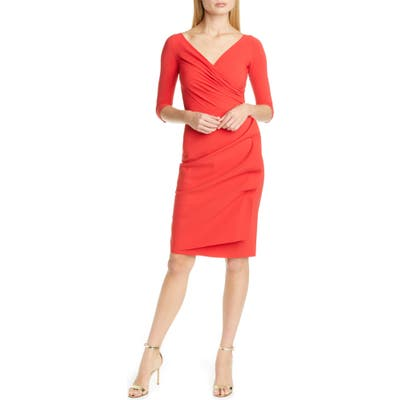 Chiara Boni La Petite Robe Florien Ruched Cocktail Dress, US - Red
