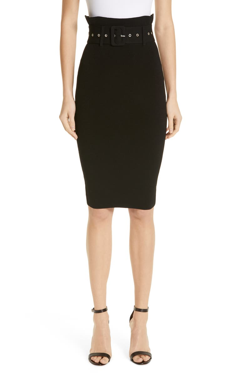 MILLY Belted High Waist Pencil Skirt, Main, color, 001