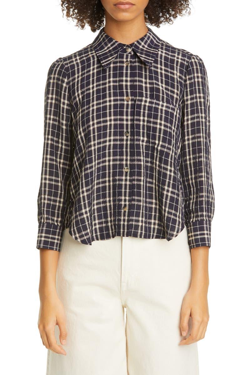 KHAITE Kaylie Crinkled Plaid Shirt, Main, color, 400