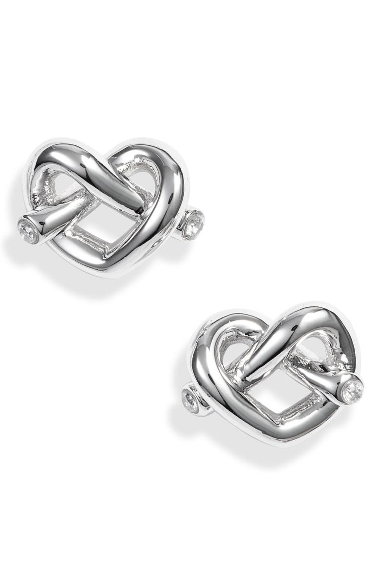KATE SPADE NEW YORK loves me knot stud earrings, Main, color, SILVER