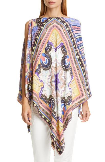 Etro Geo Print Cover-up Poncho In Beige