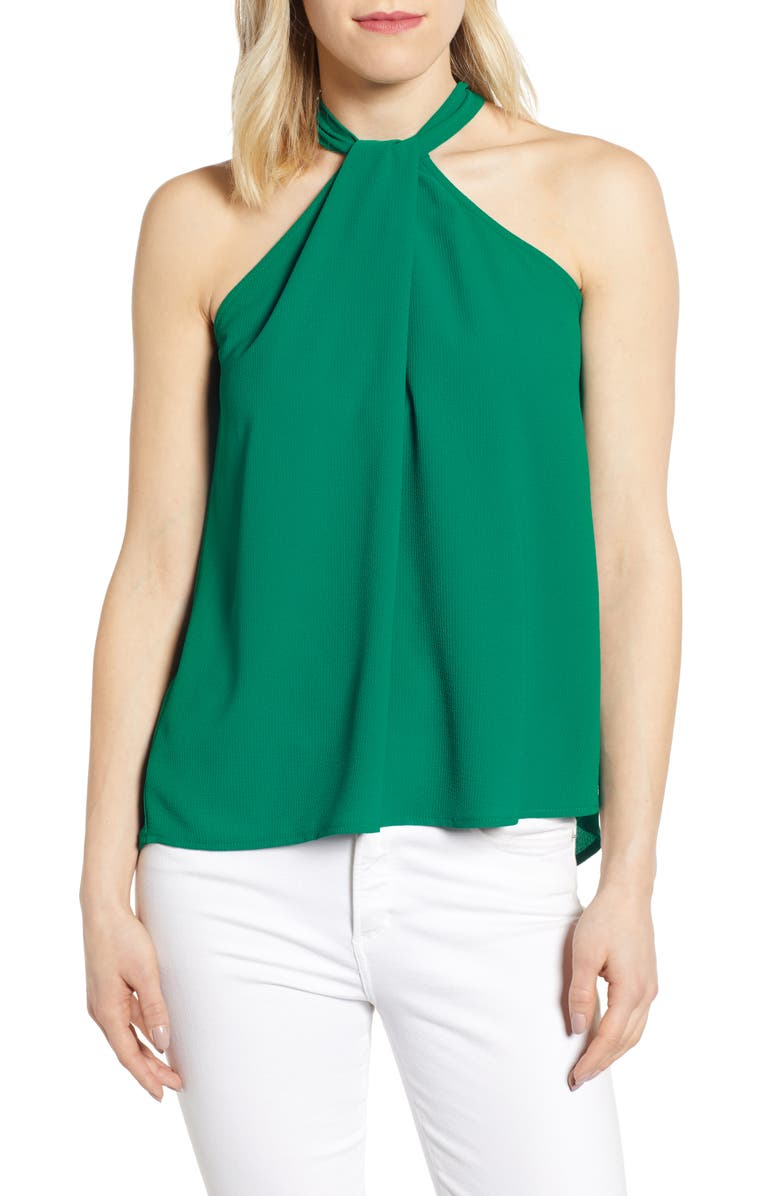 GIBSON x International Women's Day Chelsea Halter Neck Date Top, Main, color, GREEN