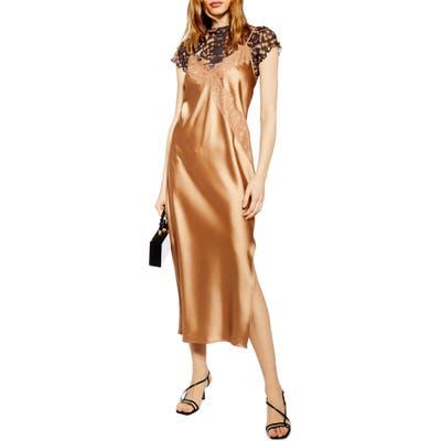 Topshop Lace & Satin Slipdress, US (fits like 6-8) - Metallic