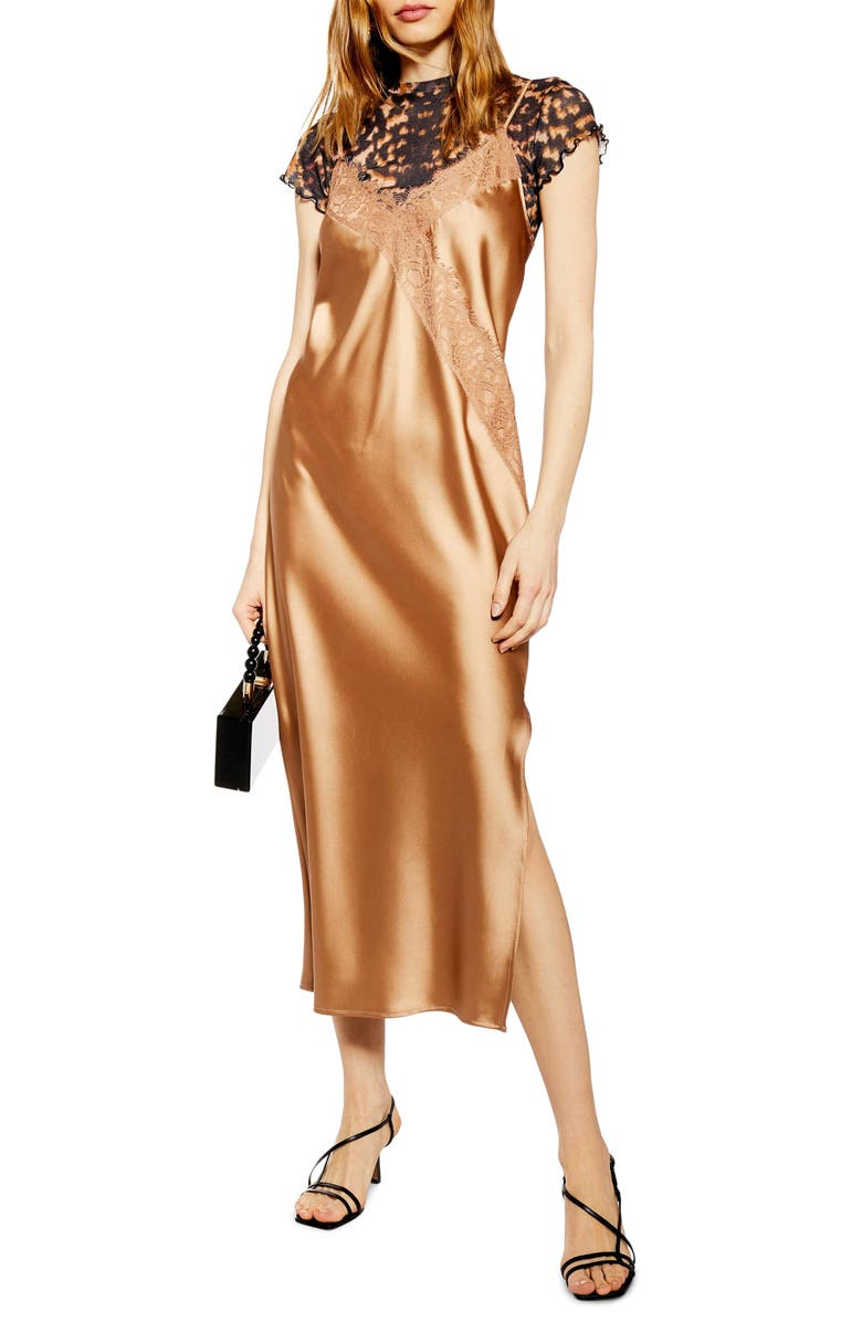 Lace & Satin Slipdress by Topshop