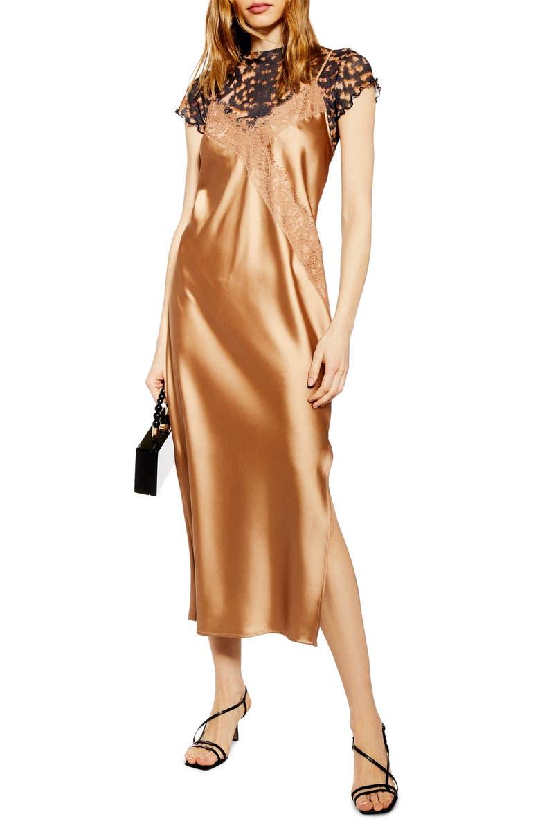 TOPSHOP Lace & Satin Slipdress, Main, color, BRONZE