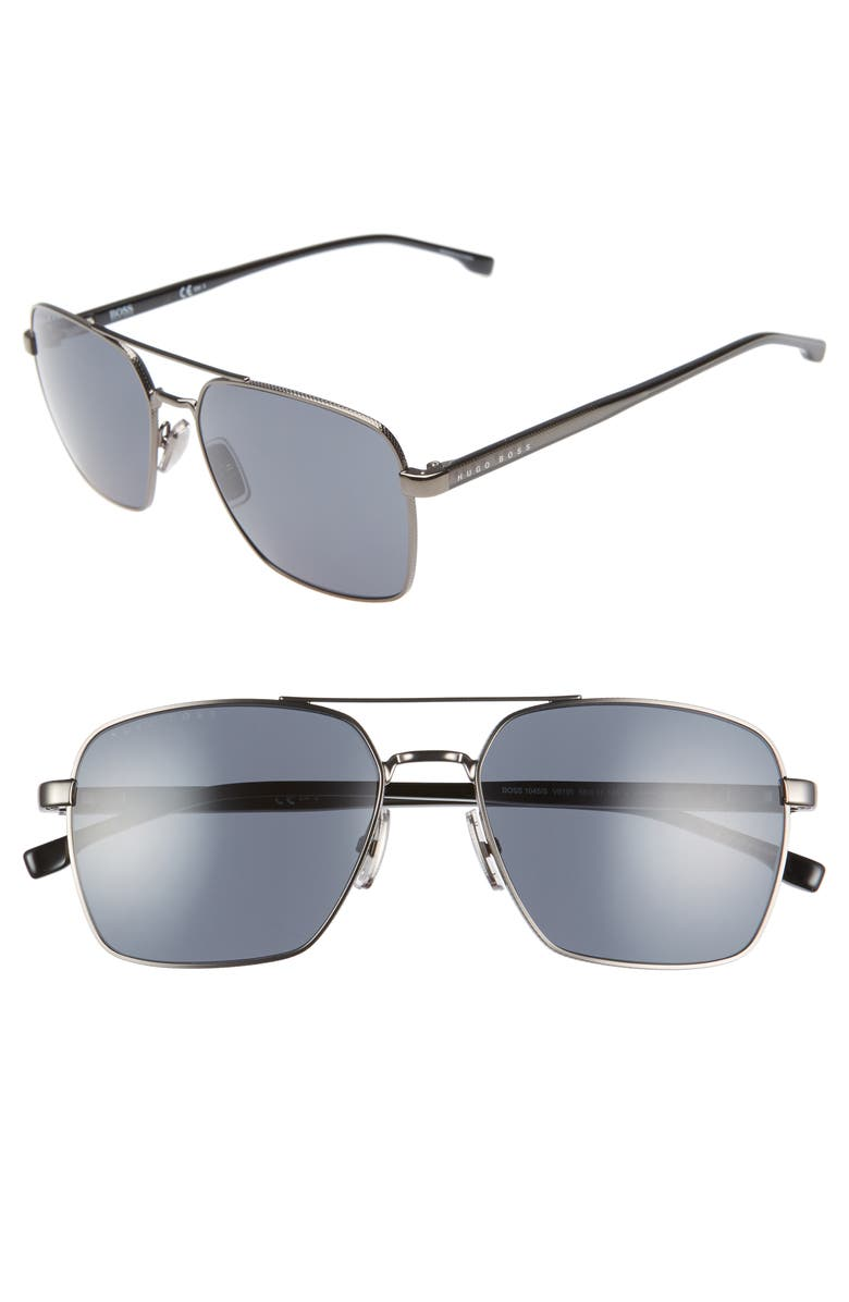 BOSS 58mm Navigator Sunglasses, Main, color, DARK RUTHENIUM BLACK