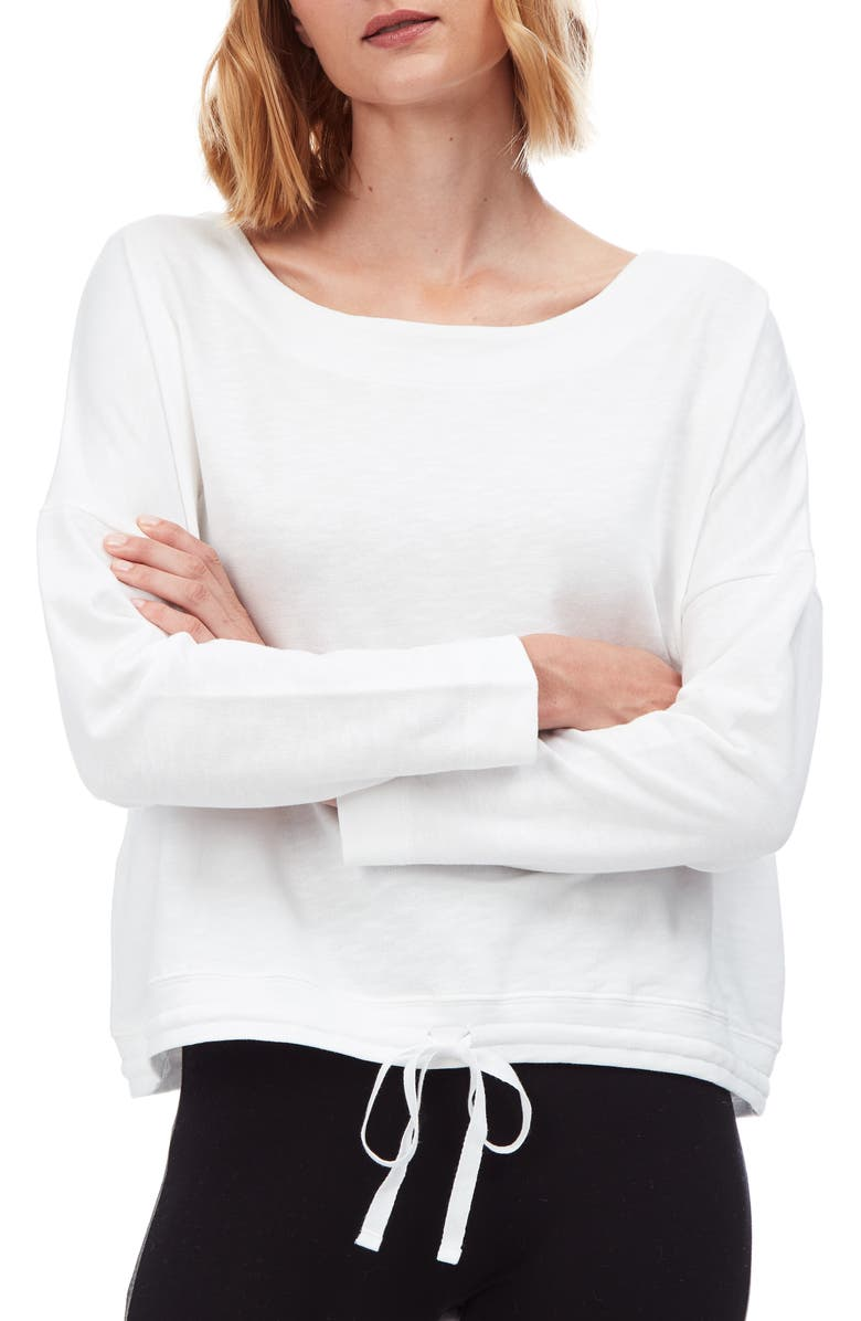 THE WHITE COMPANY Tie Waist Cotton Sweatshirt, Main, color, WHITE